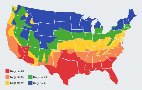 Regiones de USA para determinar carga del Aire Acondicionado