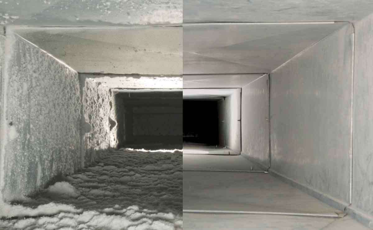 Duct cleaning: before, after